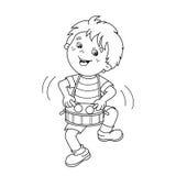 План страницы расцветки мальчика шаржа играя барабанчик Мюзикл i иллюстрация штока