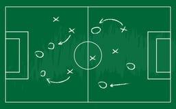 План стратегии футбола или футбольной игры Реалистическое классн классный также вектор иллюстрации притяжки corel Стоковые Изображения RF