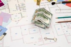 План строительства, ручка, деньги Стоковое Фото