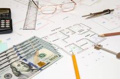 План строительства, ручка, деньги, Стоковые Фотографии RF