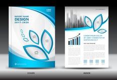 План шаблона брошюры, голубой дизайн крышки, годовой отчет, maga иллюстрация вектора