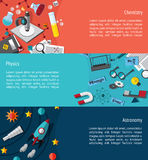 План шаблона знамени образования науки infographic как phy Стоковое фото RF