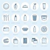 Пластиковая упаковка, устранимая линия значки tableware Пакеты продукта, контейнер, бутылка, пакет, банка, плиты и иллюстрация штока