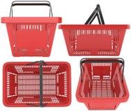 Пластичная красная корзина для товаров Стоковые Изображения