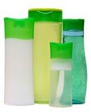 Пластичные бутылки с жидкостным мылом, гелем ливня или Стоковое фото RF