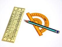 Пластичные прозрачные правители и карандаш Стоковое Изображение RF