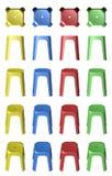 пластичные стулья табуретки 3D Стоковая Фотография RF