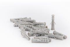 Пластичные штепсельные вилки контрольного штифта или стены Стоковая Фотография