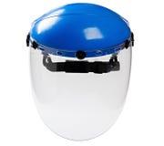 Пластичный защитный работник лицевого щитка гермошлема изолированный на белом backgr Стоковое Изображение