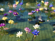 Пластичный красочный лотос украшения в пруде, Тайбэе Стоковые Фото