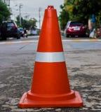Пластичный оранжевый конус дороги Стоковое Изображение
