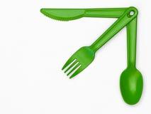 Пластичный столовый прибор 03 - зеленый цвет Стоковые Изображения RF