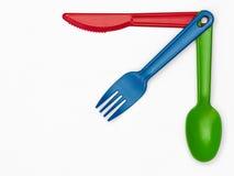 Пластичный столовый прибор 03 - Мульти-цвет Стоковые Изображения RF