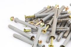 Пластичный штырь штепсельных вилок шпонки или стены с винтами для кирпичей Стоковые Изображения RF
