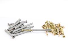 Пластичный штырь штепсельных вилок шпонки или стены с винтами для кирпичей Стоковые Изображения