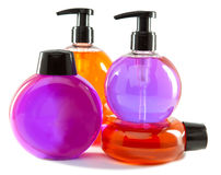 4 пластичных емкости различного цвета Стоковые Изображения