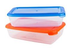 2 пластмасового контейнера для микроволны изолированного на белизне Стоковые Фотографии RF