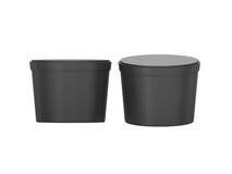 Пластмасовый контейнер черной пустой короткой еды ушата упаковывая с cli иллюстрация штока