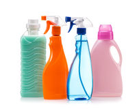 Пластмасовый контейнер чистящих средств для дома чистого стоковое изображение rf