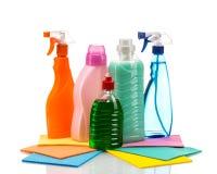 Пластмасовый контейнер чистящих средств для дома чистого Стоковые Фото