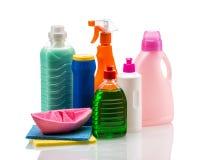 Пластмасовый контейнер чистящих средств для дома чистого Стоковое Фото