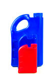Пластмасовый контейнер для изолированного автотракторного масла, бутылки машинного масла Стоковые Изображения RF