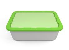 Пластмасовый контейнер для фаст-фуда с зеленой крышкой иллюстрация вектора