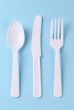 пластмасса бумаги салфетки яркого cutlery устранимая зеленая Стоковые Изображения RF