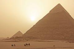 Плато в пыльной буре, Каир Гизы Стоковая Фотография