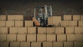 Платформа грузоподъемника в картонных коробках загрузки склада или хранения 3d Стоковое фото RF
