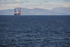 Платформа моря нефти и газ в Норвегии Энергетическая промышленность петролеум Стоковое Фото