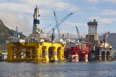 Платформа нефти и газ в Норвегии Энергетическая промышленность петролеум Стоковое Фото