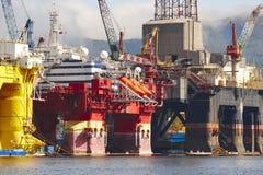 Платформа нефти и газ в Норвегии Энергетическая промышленность петролеум Стоковое Изображение RF