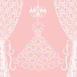 платье, занавесы и канделябр Стоковое Изображение