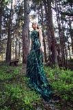 Платье длинного зеленого цвета женщины одичалой красоты белокурое в лесе Стоковая Фотография RF