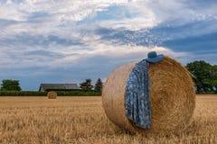 Платье и шляпа женщин на стоге сена в поле Стоковое фото RF