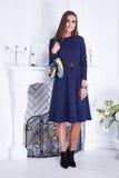 Платье красивой сексуальной моды каталога одежды женщины стильной голубое Стоковое Фото