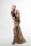 Платье моды красоты женщины длинное, элегантная девушка в мантии золота Стоковые Фото
