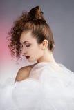 платье невесты предпосылки красивейшее изолировало белизну венчания портрета Decoratio свадьбы Стоковые Изображения RF