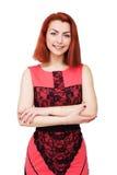 платье предпосылки красивейшее изолировало розовых детенышей белой женщины Стоковые Изображения RF