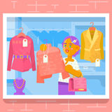 Платье приобретения маленькой девочки на магазине также вектор иллюстрации притяжки corel Стоковые Изображения RF