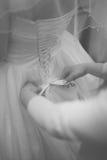 Платье свадьбы, невеста подготовки Стоковое Изображение RF