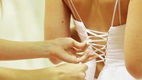 Платье свадьбы шнуровки сток-видео