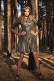 Платье солнца светлых волос лета девушки красивой женщины сексуальное Стоковое Изображение RF