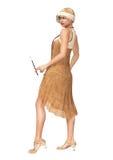 Платье танцора язычка женщины 20s реветь Стоковая Фотография