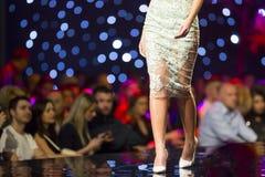 Платье цветка взлётно-посадочная дорожка модного парада красивое Стоковое Изображение RF