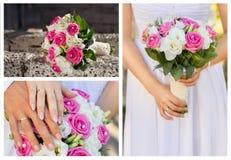 платье dof коллажа бежевого букета bridal звенит отмелые ботинки wedding Стоковое фото RF