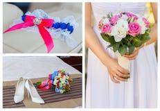 платье dof коллажа бежевого букета bridal звенит отмелые ботинки wedding Стоковые Изображения
