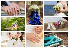 платье dof коллажа бежевого букета bridal звенит отмелые ботинки wedding Стоковое Изображение RF