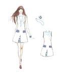 Платья девушек на белой предпосылке бесплатная иллюстрация
